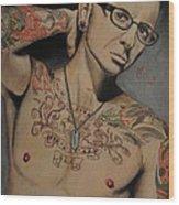 Chester Bennington Portrait Wood Print