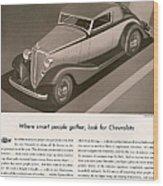 Chevrolet 1933 1930s Usa Cc Cars Wood Print
