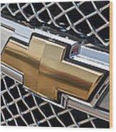 Chevrolet Bowtie Symbol On Chevy Silverado Grill E181 Wood Print