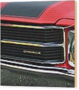 Chevrolet Chevelle Ss Grille Emblem Wood Print