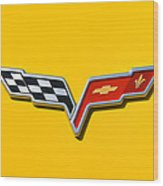 Chevrolet Corvette Flags Wood Print