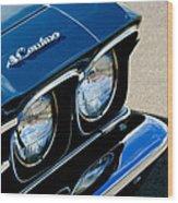Chevrolet El Camino Hood Emblem - Head Lights Wood Print