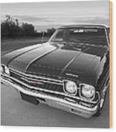Chevrolet El Camino In Black And White Wood Print