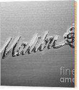 Chevrolet Malibu Ss Emblem Black And White Picture Wood Print