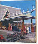Chevron Gas Station At Santa's Village With Reindeer And Carl Hansen Wood Print