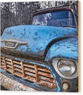 Chevy In The Woods Wood Print by Debra and Dave Vanderlaan