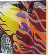 Chevy Pickup Flames Wood Print