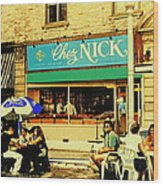 Chez Nick On Greene Avenue Montreal In Summer Cafe Art Westmount Terrace Bistros And Umbrellas Wood Print