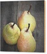 Chiaroscuro Style Image Fresh Juicy Pears In Rustic Wooden Setting Wood Print