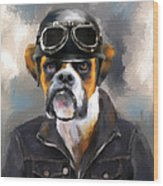 Chic Boxer Aviator Wood Print by Jai Johnson