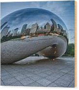 Chicago - Cloudgate Reflections Wood Print