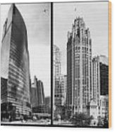 Chicago 333 And The Tower 2 Panel Bw Wood Print