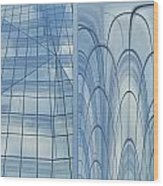 Chicago Abstract Before And After Blue Glass 2 Panel Wood Print