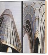 Chicago Abstract Before And After Sunrays On Trump Tower 2 Panel Wood Print