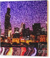 Chicago At Night Digital Art Wood Print by Paul Velgos