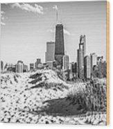 Chicago Beach And Skyline Black And White Photo Wood Print