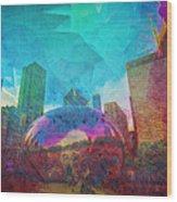 Chicago Bean Skyline Illinois Digital Paint Wood Print