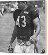 Chicago Bears Fb Tony Fiammetta Training Camp 2014 Bw Wood Print