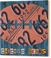 Chicago Bears Football Recycled License Plate Art Wood Print