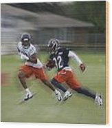 Chicago Bears Rb Michael Ford Moving The Ball Training Camp 2014 Wood Print