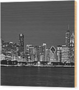 Chicago Black And White Evening Wood Print