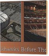 Chicago Blackhawks Before The Gates Open Interior 2 Panel Tan Wood Print