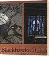 Chicago Blackhawks United Center Signage 2 Panel Tan Wood Print
