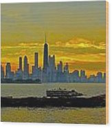 Chicago Breakwater Wood Print