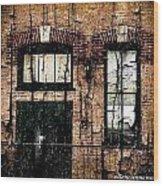 Chicago Brick Facade Grunge Wood Print