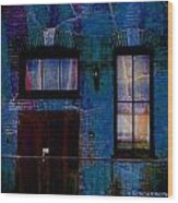 Chicago Brick Facade Night Moves Wood Print
