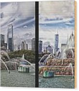 Chicago Buckingham Fountain 2 Panel Looking West And North Black Wood Print