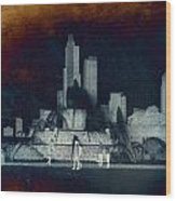Chicago Buckingham Fountain Northside Textured Wood Print
