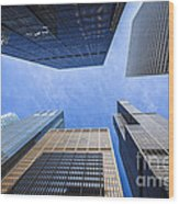 Chicago Buildings Upward View With Willis-sears Tower Wood Print by Paul Velgos