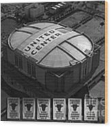 Chicago Bulls Banners In Black And White Wood Print by Thomas Woolworth
