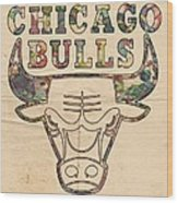 Chicago Bulls Logo Vintage Wood Print