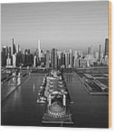 Chicago By Air Bw Wood Print