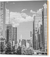 Chicago Cityscape Black And White Picture Wood Print by Paul Velgos