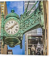 Chicago Clock Hdr Photo Wood Print