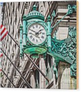 Chicago Clock On Macy's Marshall Field's Building Wood Print