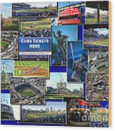 Chicago Cubs Collage Wood Print