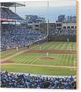 Chicago Cubs Up To Bat Wood Print