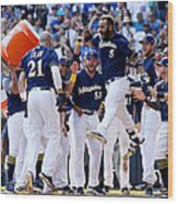 Chicago Cubs v Milwaukee Brewers Wood Print