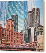 Chicago Downtown At Lasalle Street Bridge Wood Print