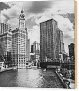 Chicago Downtown At Michigan Avenue Bridge Picture Wood Print