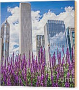 Chicago Downtown Buildings And Spring Flowers Wood Print