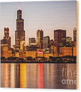 Chicago Downtown City Lakefront With Willis-sears Tower Wood Print