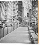 Chicago Downtown City Riverwalk Wood Print