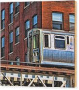 Chicago El And Warehouse Wood Print