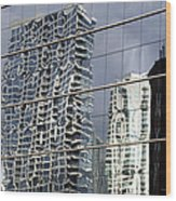 Chicago Facade Reflections Wood Print