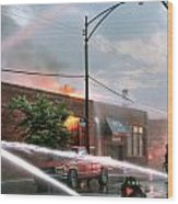Chicago Firemen At Work Wood Print